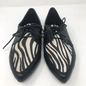 80s Style Pointy Zebra Lace Up Flats 9